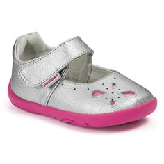 GG2366: Grip 'n' Go™ Antoinette Silver - Melt into spring with silver streaked by fuchsia, and patented G2 Technology™, which includes a soft rubber sole, rounded edges to mimic the natural shape of a child's foot, and a soft toe box that allows toes to curl & grip the floor.