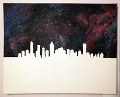 """La Galaxie de Montréal"" | #acrylic #canvas #acryliconcanvas #paint #painting #art #gallery #galleria #galeria #creative #creativity #galaxyprint #galaxy #print #madebyme #artist #montreal #skyline #stars #universe"