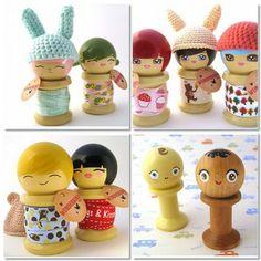 cute faces: Spool Dolls