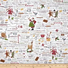 Holly Jolly Christmas Words Antique White from @fabricdotcom Designed by Mary Lake-Thompson LTd. for Robert Kaufman, this cotton print fabric is perfect for quilting, apparel and home decor accents. Colors include black, red, green, white and gold.