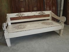 Balinese Furniture Hand Carved Recycled Timber Antique Panel Cream DAY BED Seat | eBay