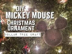 DIY Mickey Mouse Christmas Ornament using dollar tree products. This is an easy craft and perfect for those Disney fans. Mickey Mouse Christmas Ornament, Christmas Ornaments, Dollar Tree Crafts, Disney Crafts, Wreath Crafts, Easy Crafts, Holiday Decor, Diy, Wreaths