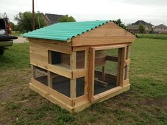 Large 2 story rabbit hutch. There is a small door in the back.