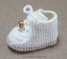 Crochet Baby Booties Remember the classic high-top baby's first walking shoes wit...