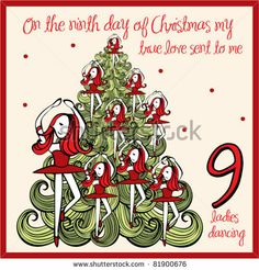 Find 12 Days Christmas Ninth Day Nine stock images in HD and millions of other royalty-free stock photos, illustrations and vectors in the Shutterstock collection. Thousands of new, high-quality pictures added every day. Days Of Christmas Song, Days Before Christmas, What Is Christmas, Christmas Images, Christmas Candy, Christmas Birthday, Family Christmas, All Things Christmas, Christmas Gifts