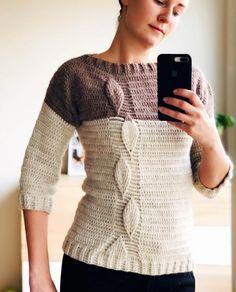 Crochet Sweater Pattern - Leaf Sweater in PDF Crochet Men, Chunky Crochet, Easy Crochet, Pattern Leaf, Knitting Patterns, Crochet Patterns, Knitting Ideas, Crochet Leaves, Crochet Clothes