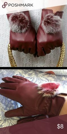 Women Gloves Brand New Women Burgundy Faux Fur Faux Leather Gloves  S/M Accessories Gloves & Mittens