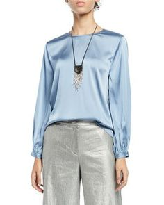 75658f6e Hammered+Silk+Button-Front+Elbow-Sleeve+Shirt+and+Matching+Items+by+ ...