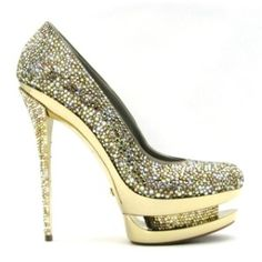 Gianmarco Lorenzi Crystal Silver/Gold Heels from Kaboodle. Available at gregorysshoes.com
