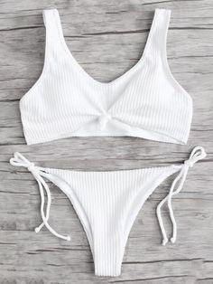 Tie Side Rib Bikini SetFor Women-romwe