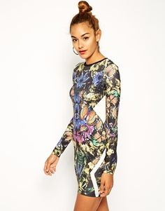 ASOS+Butterfly+Print+Panel+Bodycon+Dress