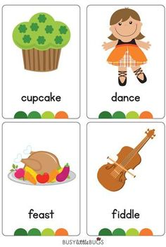 """Our """"St Patrick's Day Flash Cards are a great early literacy learning tool for your children or classroom. All images are of high quality and use the Australian Foundation Font.  There are 28 printable flash cards in this set"""