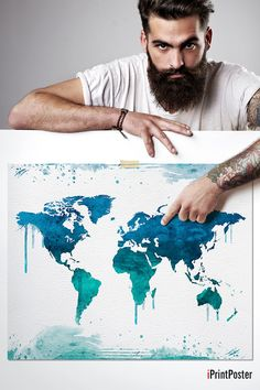 Hey, I found this really awesome Etsy listing at https://www.etsy.com/listing/227022852/world-map-art-print-watercolor-world-map