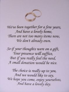 40 Wedding poems asking for money gifts not presents - Ref: no 1 | eBay    Oh good, tacky comes in more than one font.