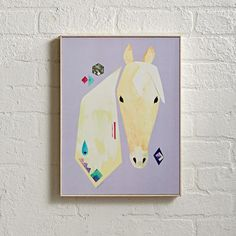 Affordable gifts for kids who love horses: a modern Palomino horse print from Land of Nod
