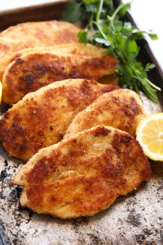 Parmesan crusted chicken is such a fantastic and flavorful chicken recipe. Chicken breasts are tossed in a parmesan cheese and bread crumb mixture and then pan-fried until golden brown perfection. Sweet Potato Recipes Healthy, Chicken Breast Recipes Healthy, Chicken Flavors, Recipe Chicken, Mexican Food Recipes, Chicken Recipes, Healthy Recipes, Parmesan Crusted Chicken, Grilled Chicken
