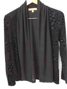 Ellen Tracy Small S Jacket Black Velvet Burnout Open Style Evening Occasion #Ellen Tracy #Small #Black Jacket