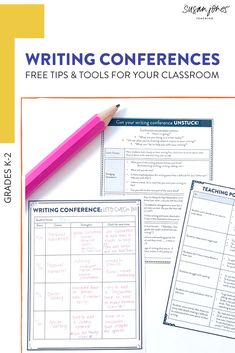 Need some writing conference tips and tools for your kindergarten, first grade, or second grade classroom?! This post includes 3 top tips for running successful writing conferences in the primary grades. You can also grab a free video training and conference tools like: conference note-taking forms, possible teaching points, and guiding questions that will help you with what to actually teach during writing conferences.