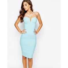 351f9235eb Rare London Mutli Strap Plunge Midi Dress (245 BRL) ❤ liked on Polyvore  featuring