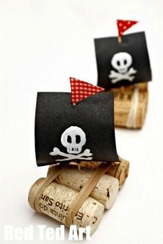 Pirate Ships for Talk Like a Pirate Day- Cork Boat craft for kidsYou can find Pirate ships and more on our website.Pirate Ships for Talk Like a Pirate Day- Cork Boat craft for kids Boat Crafts, Camping Crafts, Summer Crafts, Craft Projects, Crafts For Kids, Arts And Crafts, Garden Crafts, Garden Art, Craft Kids