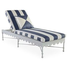 one kings lane | awning-stripe adjustable chaise, navy