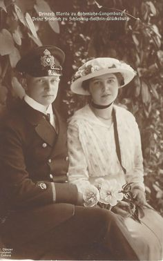 One of the engagement images of HSH Princess Marita of Hohenlohe-Langenburg (1899-1967) and Prince Friedrich of Schleswig-Holstein-Sonderburg-Glücksburg (1891-1965) They became engaged in 1915 and married on February 5, 1916 at Coburg. Marita's full name was Marie Melita Leopoldine Viktoria Feodora Alexandra Sophie. She was the eldest daughter of Ernst II, Prince of Hohenlohe-Langenburg and Princess Alexandra of Edinburgh. Friedrich was the only son of Duke Friedrich Ferdinand of Schleswi