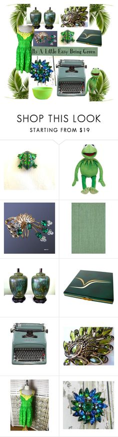 """""""Its A Little Easy Being Green"""" by openslatecollectibles ❤ liked on Polyvore featuring Chandra Rugs and vintage"""