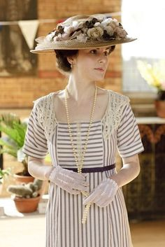 """I basically yell out """"I want that dress"""" during every scene of Downton Abbey.  Especially this one....I do love stripes and lace"""