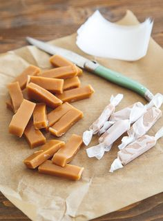 Small batch of homemade caramels super tasty and easy! Mailed to college kid Köstliche Desserts, Delicious Desserts, Dessert Recipes, Yummy Food, Candy Recipes, Sweet Recipes, Holiday Recipes, Homemade Candies, Homemade Caramels