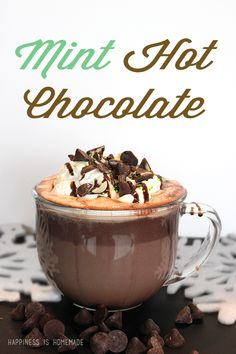 Rich and creamy, silky and indulgent, this mint hot chocolate tastes like it came from a gourmet coffee shop, but it only takes 2 ingredients and less than 5 minutes to make at home!
