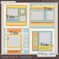 Simple Stack 14 Digital Scrapbook Templates. $3.00 at Gotta Pixel. www.gottapixel.net/