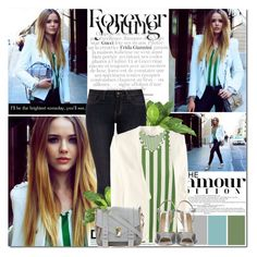 Untitled #410 by tracey-mason on Polyvore featuring polyvore, fashion, style, Acne Studios, H&M, Royal Spades, even&odd, Proenza Schouler, Nearly Natural, clothing, stripes, skinny jeans and white blazers