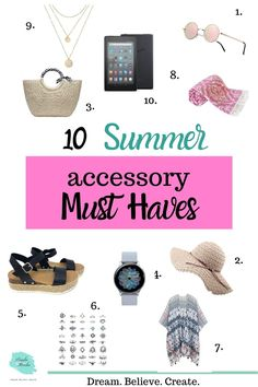 10 summer accessory must haves || Summer accessories make the outfit. Here are 10 summer accessory must haves that can make you stand out on the beach this summer! #summeraccessories #summeraccessoryideas #summermusthaves #ultimatesummermusthaves