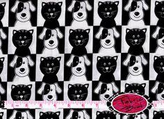 CAT & DOG Fabric by the Yard Half Yard or Fat by FabricBrat, $2.25