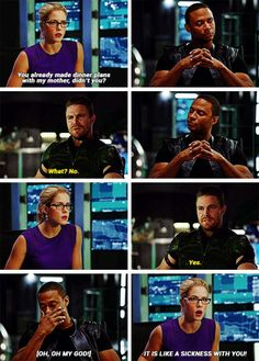 """You already made dinner plans with my mother, didn't you?"" - Felicity, Oliver and Diggle ((being the whole #Olicity fandom!)) #Arrow"
