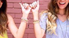 Friends forever <3 #ettika #jewelry #bracelets #stacks #pink #yellow #white #sparkles #lemonade #summer #friends #bff