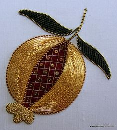 Goldwork pommegranate kit ideal to learn key goldwork techniques! Available through my website: www.jessicagrimm.com