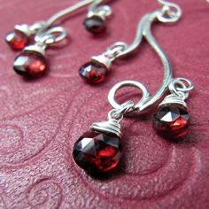 Spiral Mini Earrings with Garnet, Sterling Silver, Handcrafted, Bubble, Wave, Swirl, Red Gemstone. GREEK ISLE MINI Earrings with Garnet.