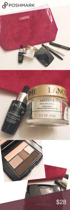 Lancôme 7-piece bundle (serum cream eyeshadow) Lancôme 7-piece Deluxe sample makeup bundle.                                                       ♥️genifique serum/youth activating concentrate 0.27oz/8ml.                                   ♥️ absolute premium cream spf 15 0.5oz/15g. ♥️ color design eyeshadow 0.07/2g.              ♥️ eyeliner le crayon kohl (black) 0.02oz/0.7g.  ♥️ base mascara cil booster XL 0.07oz/2ml.  ♥️ definicil mascara black 0.07oz/2ml. ♥️cosmetic bag Lancome Makeup