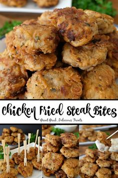 Chicken Fried Steak Bites are crunchy, seasoned perfectly, fried to perfection and are the perfect comfort food. A delicious and easy appetizer recipe perfect any time of the year. appetizers for dinner Chicken Fried Steak Bites Fried Chicken Recipes, Meat Recipes, Cooking Recipes, Finger Food Recipes, Cooking Videos, Fish Recipes, Recipies, Healthy Recipes, Meat Appetizers