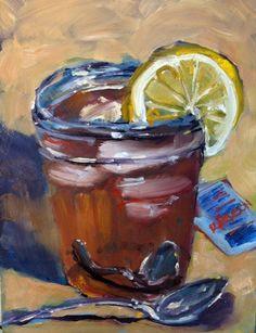 """Ice Tea with Lemon"" - Original Fine Art for Sale - © Rick Nilson Food Painting, Painting & Drawing, Lemon Painting, Painting Tips, Artist Gallery, Fine Art Gallery, Apple Art, Kids Canvas, Still Life Art"