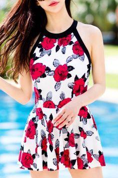 Sweet Round Neck Flower Print Open Back   Swimsuit For Women