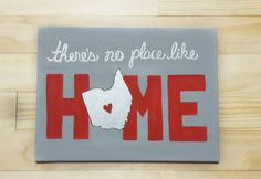college wall art Ohio State/Columbus There's No Place Like Home Gray by Charmify Dorm Canvas, Diy Canvas Art, Canvas Wall Art, College Canvas Paintings, Canvas Ideas, Ohio State Canvas, State Art, College Crafts, College Wall Art