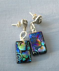 Rainbow Hearts Dichroic Fused Glass Earrings Dichroic by GlassCat, $27.00