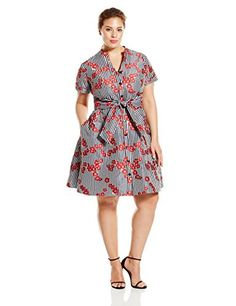 Adrianna Papell Women's Plus-Size Gingham and Floral Flared Embroidered Shirt Dress, Red, 18w * Check out the image by visiting the link.