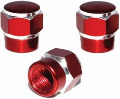 """Amazon.com : (3 Count) Cool and Custom """"Short Two Tone Hexagon with Easy Grip Shape"""" Tire Wheel Rim Air Valve Stem Dust Cap Seal Made of Genuine Anodized Aluminum Metal {Classic Ford Red and Silver Colors - Hard Metal Internal Threads for Easy Application - Rust Proof - Fits For Most Cars, Trucks, SUV, RV, ATV, UTV, Motorcycle, Bicycles} : Sports & Outdoors"""