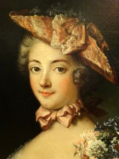 #Oil on #canvas, #portrait of a young girl wearing a tricorn hat and holding a fan in her left hand. South of France, #LouisXV.#18th century. For sale on Proantic by La Maison Du Roy.