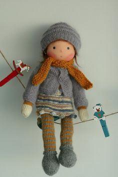 knitted dolls Handcrafted doll according to Waldorf pedagogy. The doll Yolanda is cm) long. Her head is sculpted in the traditional Waldorf style; the head is made of organi Knitted Dolls, Crochet Toys, Knitted Bags, Fabric Dolls, Paper Dolls, Rag Dolls, Little Doll, Waldorf Dolls, Boy Doll