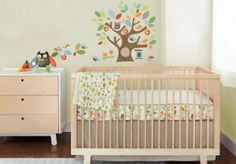 Tree Top Friends Complete Sheet� 4-PC Bedding Set by SkipHop.   A friendly owl and colorful leaves surround baby with the joy of nature. Our bumper-free 4 pc bedding set provides all the style of a traditional crib set-without a bumper-and features our patent-pending Complete Sheet�. This �engineered� sheet offers bold graphics around the sides of the mattress with a contrasting pattern on top of the sheet. Also included is our wall decals, linen crib skirt and the softest nursery…