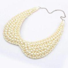 Women Fashion Elegant Pearls Fake Collar Necklace